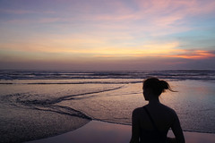 Semiyak, Bali (bSlaney) Tags: ocean travel sunset sea vacation sky bali woman holiday black color love water girl clouds indonesia evening coast colorful surf waves sister ripple wave eat shore ripples outline indo silhoutte such islad semiyak