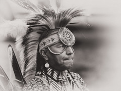 Chief (marianna_a.) Tags: blackandwhite vintage native indian chief tint monochromatic american mohawk nik tribe powwow blackwhitephotos silvereffects p2550293