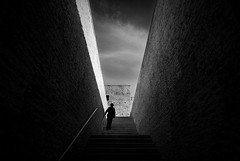 (ajhenriques) Tags: street city windows light sky people blackandwhite bw woman sun white abstract black portugal monochrome lady clouds stairs contrast digital walking nikon women shadows lisboa lisbon silhouete minimal textures human walls d200
