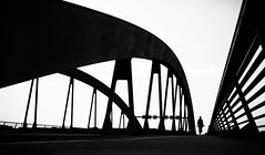 walk me to the bridge (/ Georg /) Tags: bridge urban bw woman abstract monochrome lines silhouette backlight contrast dresden high graphic walk curves vector graphical waldschlschenbrcke humaningeometry