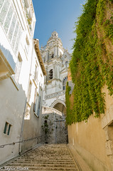 The Cathedral in Blois France (Loire Valley) (TaylorH22) Tags: loirevalley france other flickr places church cathedral blois nikon 1685 d700 architecture history stairway laneway white blue sky europe