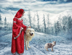 The Foundling (rubyblossom.) Tags: da users gallery140~medieval stock with dog 111 foundling winter snow premade background rubyblossom rubystreasures 2016