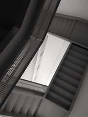 Tilted. (SaltyDogPhoto) Tags: stairs staircase stairway linesandangles linesandshapes abstract blackandwhite bnw bw lookingup franklininstitute philadelphia philly photography photooftheday architecture building interior inside saltydogphoto samsung samsungs6 urban geometry angles