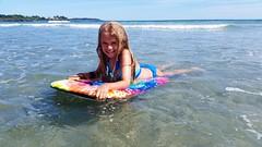 Violet On Her Boogie Board (Joe Shlabotnik) Tags: galaxys5 justviolet beach higginsbeach violet boogieboard maine july2016 cameraphone ocean 2016