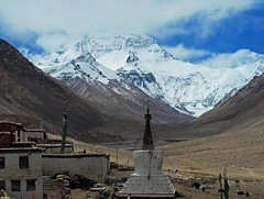 Rongphu Monastery at the Foothill of Mt Everest North Face (joeng) Tags: tibet china places mountain landscape chomolungma mteverest rongphumonastery himalayas monastery temple chorten building snow prayerflag clouds sky everestnorthface