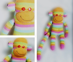 The colorful monkey (melyescamilla1) Tags: monkey colorful pastelcolors cuteness cute toy childhood pretty collage