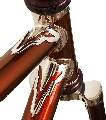 <p>Head Lug detail of a Waterford 22-Series frame with custom Empire (art deco) lugs, painted Copper Metallic.</p>