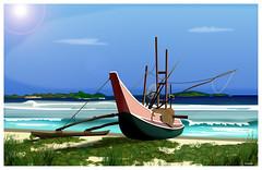 Malaisie (Christian Bachellier) Tags: beach photoshop boat dessin asie malesia bateau plage malaisie vectoriel idraw