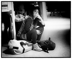 The Thinker 110/365 (denny57uk) Tags: travel bw waiting candid streetphotography traveller trainstation norwich bags peoplewatching thethinker candidstreet 110365