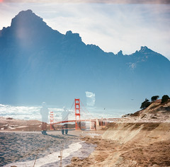 Keyhole Rock + Golden Gate Bridge (Chelsea Branch) Tags: sanfrancisco california rock mediumformat doubleexposure bigsur goldengatebridge keyhole lubitel166b kodakektar100 keyholerock