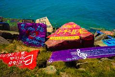 Painted Rocks (Jordan David Photography) Tags: travel lake heritage stone illinois rocks colorful stones pride lakemichigan shore northwestern