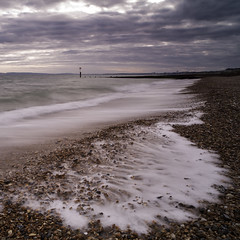 Solent Beach. (muddlemaker1967) Tags: seascape beach clouds landscape nikon general tide shingle dorset groyne carlzeiss d700 zf2 distagont2821