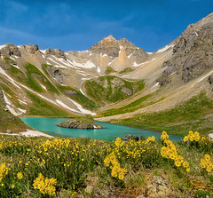 Old Man in the Mt and wildflowers Island lake_Panorama16 (maryannenelson) Tags: colorado summer wildflowers lake islandlake oldmaninmountainflower mountains peaks panorama