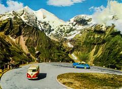 Im Juli #3 - Day #03 - Austria - Groglockner [026] - front (Ye-Di) Tags: imjuli mountain r2u postcard ansichtskarte austria sterreich grosglockner vw bus samba t1 taunus 12m p1 streifentaunus ford 70s 1975