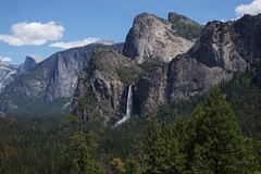 Bridalveil Falls & The Three Brothers (stevendudes000) Tags: mountains nationalpark waterfalls yosemite halfdome bridalveilfalls threebrothers
