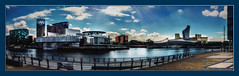 Salford Quays, Manchester (Kevin From Manchester) Tags: architecture bbc canon1100d canon1855mm colorfull england greatermanchester hdr kevinwalker lancashire manchester mediacity outdoor panorama panoramic river rivermersey salfordquays sky water waterfront waterways