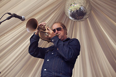 Bryan Corbett @ Mostly Jazz 2 (preynolds) Tags: concert gig livemusic dof canon5dmarkii mark2 raw tamron2470mm trumpet trumpetplayer glitterball stage stagelights hornsection horns brass birmingham moseley moseleyprivatepark festival counteractmagazine noflash mostlyjazz2016 sunglasses