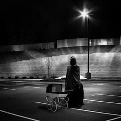 Evening stroll (Flamenco Sun) Tags: night parkinglot monk death hoodedfigure pram prank weirdo creepy unusual bizarre odd scary disturbing dark horror