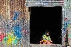 Colorful woman! (ashik mahmud 1847) Tags: bangladesh d5100 nikkor woman color door dark light portrait ngc