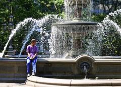 Sitting by the Fountain (pjpink) Tags: cityhallpark park fountain cityhallparkfountain water splash manhattan nyc newyork newyorkcity ny urban city june 2016 summer pjpink