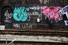 Sludge / B6K (Alex Ellison) Tags: urban graffiti boobs tag railway ab pies kc graff sludge 129 throwup trackside northlondon neka pws persy throwie piez 1t neks b6k