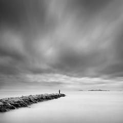 The Angler (thomas bach nielsen) Tags: longexposure blackandwhite seascape beach landscape denmark island fishing nikon danmark bnw frederikshavn angler neutraldensity nd110 bwnd110