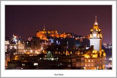 Nightfall On Edinburgh (flatfoot471) Tags: winter urban castle landscape hotel scotland twilight edinburgh edinburghcastle dusk princesstreetgardens princesstreet fair balmoralhotel caltonhill lothian scottmonument