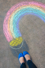 We've reached Friday (catklein) Tags: from above feet happy chalk rainbow colorful potofgold