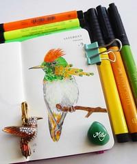 Colibr- Hummingbird : ) (Milagritos9) Tags: drawing picaflor birdillustration moleskinejournals minisketchbook birdjournal hummingbirdportrait colibriart moleskineartpages artistillustratedjournal birdminiportrait moleskineminidiary