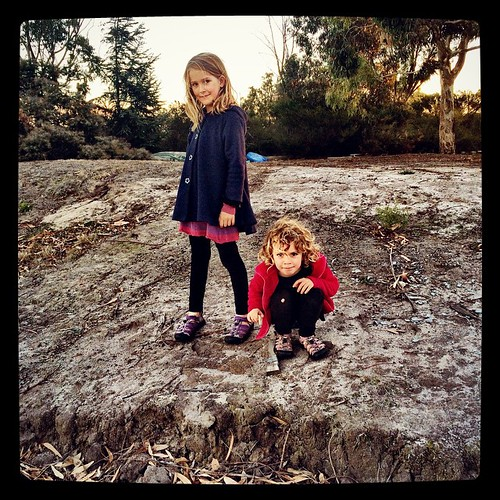 """092/365 • about to go for an after- dinner wander """"along the track where the bird swooped us..."""" • #092_2015 #4yo #7yo #boatyard #autumn2015 #dusk #outdoors #morningtonpeninsula #sisters"""