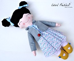 Sweet felt doll for Emma (Colori Preziosi) Tags: baby black yellow doll dress handmade lace embroidery felt fabric jacket ladybug feltro lightblue fiocco pizzo bambola bebes tecido stoffa giacca bambolina feltdoll embroideredname coloripreziosi feltroepannolenci