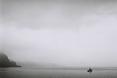 thesea (lashtsertsvadze) Tags: ocean sea blackandwhite bw mountain film water fog analog 35mm 50mm mood ship emotion dream imagination grains mystic batumi nikonfg ilford400 tsertsvadze