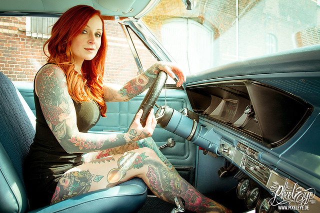 chevy impala pinup 2015 redpearl pixeleye tattoomodel dirkbehlau