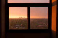 A City Through the Window Frame (departing(YYZ)) Tags: city sunset toronto ontario canada window landscape outside sony frame northamerica sonnartfe35mmf28za