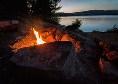Fire by the Lake. (PebblePicJay) Tags: fire camp lamp park algonquinpark