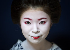 Portrait of a 16 years old maiko called chikasaya, Kansai region, Kyoto, Japan (Eric Lafforgue) Tags: portrait woman white beautiful beauty face japan horizontal closeup female hair asian japanese clothing eyes kyoto colorful asia pretty feminine painted young culture makeup front grace indoors teen maiko geisha teenager kimono gion tradition oriental youngadult solitary hairstyle youngwoman apprentice oneperson confidence elaborate kanzashi darkbackground lookingatcamera 1617years oneyoungwomanonly 1people japaneseethnicity colourpicture chikasaya japan161926 komayaokiya