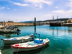 Rethymno harbour (claudia.kiel) Tags: lighthouse boat harbour kreta greece crete hafen griechenland reflexion leuchtturm mediterraneansea pirateship rethymno mittelmeer piratenschiff mediterraneancolours