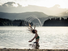 Hair flip (trailrat999) Tags: meganburns bc sunshinecoast lorenzjimenez powellriver splash hairflip canada camping britishcolumbia nantonlake people