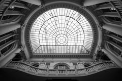Wilhelm Landau bank (PiotrTrojanowski) Tags: warsaw architecture interior art nouveau secession skylight main hall balcony poland blackandwhite bw black white