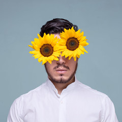 Sun Flower (Andreas Sichel) Tags: sunflower boy sureal portrait photoshop