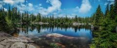Cabin Lake (Martin Smith - Having the Time of my Life) Tags: cabinlake cypressbowl blackmountain badenpowelltrail eaglebluffstrail westvancouver nikond7000 nikkor1855mmf3556gvrii martinsmith martinsmith 8shotpano pano panorama britishcolumbia canada ca lake reflections rocks ngc
