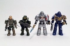 Custom Mega Bloks Warhammer 40k Space Marines Size Comparison (funnystuffs) Tags: 3 grey dawn war space 40k knights franz warhammer karl marines mega ultramarines bloks funnystuffs