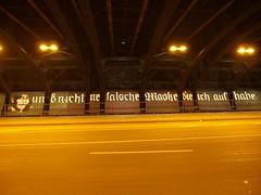 falsche Maske  (mkorsakov) Tags: dortmund city innenstadt nordstadt brcke bridge graffiti parole wand wall installation