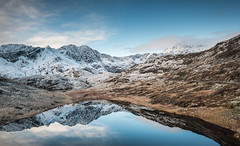 Reflections (Photo Lab by Ross Farnham) Tags: snowdonia wales lake reflections snow blue sky mountain nikon d800