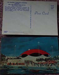 1964-1965 N.Y.W.F. Souvenir Ephemera - IMGP3502 (catchesthelight) Tags: peacethroughunderstanding worldsfair worldsfairgrounds ny nyc queens unisphere flushingmeadownewyork newyorkworldsfairsouvenirbooklet 1960s advertising copyrighted 196465nyworldsfair nywf souvenirs buildings miniphotos handheldshots notscans 19641965 thetravelersinsurancecompaniespavilion thetriumphofman redumbrella logo modernistbuilding