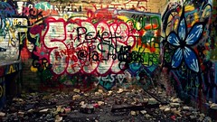 (-destynnie.hall-) Tags: island sea ocean naragansett jamestown newport ri rhode newengland rocks rocky green blue water beach adventure boat sail sky shore cliffside cliff summer punk graffiti ruins rock art catacomb bunker maze room rocker metal spraycan spray can color colour