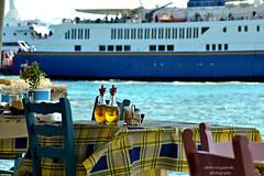 2... (Love me tender .**..*) Tags: dimitrakirgiannaki photography greece greek europe nikond3100 colors blue sea summer boats tables taverna chairs holidays aigina 2016 sporades island          tradition blur dof