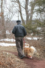Are we Going to Find the Geocache? (eyriel) Tags: winter friends dog man cold geocaching path walk hike trail pathway bestfriends
