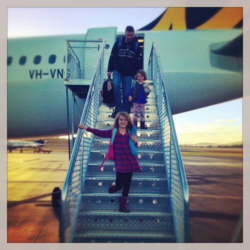 110/365 • and we've landed - hello Hobart! •#110_2015 #aeroplane #tigerair #hobart #tasmania2015 #mybirthdayjourney #hittingthetarmac #familypie