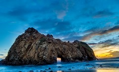 Key Hole Rock, BigSur (rkpunnamraju) Tags: sunset sky nature rock skyline clouds landscape nationalpark bigsur bluesky beaches bluehour keyholerock